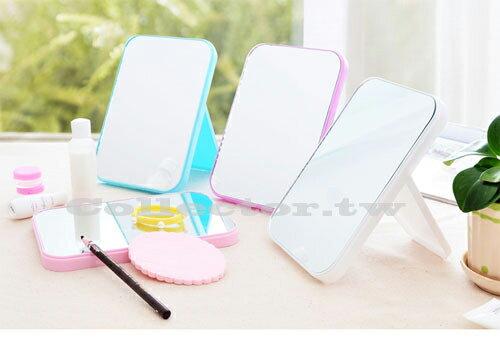 【J17081501】韓國創意台式簡易便攜梳妝鏡 可愛折疊化妝鏡 公主鏡 桌面美容鏡