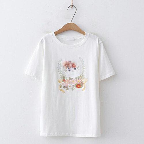 釘珠花朵印花圓領短袖T恤(4色F碼)【OREAD】 1