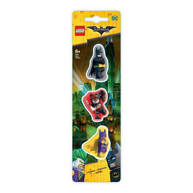 【 樂高積木 LEGO 】造型橡皮擦(3入)(蝙蝠俠/女蝙蝠俠/小丑女)