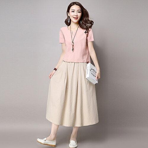 棉麻純色百搭半身裙2件套(3色M~2XL)*ORead* 0