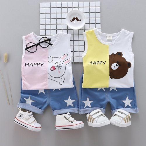 嬰兒短袖套裝卡通背心+短褲寶寶童裝YN4645好娃娃