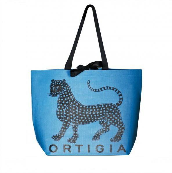歐媞迦 Ortigia Tote 藍色 豹紋LOGO 黑緞帶 超大容量 手提 袋