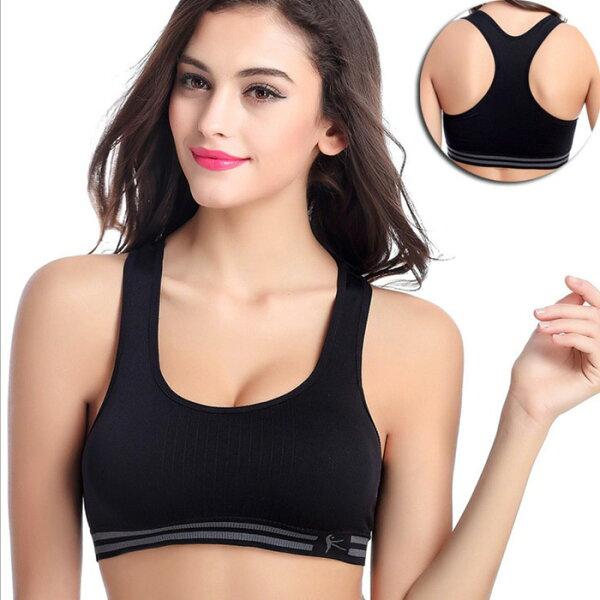糖衣子輕鬆購【BA0051】一片式無痕無鋼圈雙層工字背運動內衣瑜珈跑步包覆性內衣