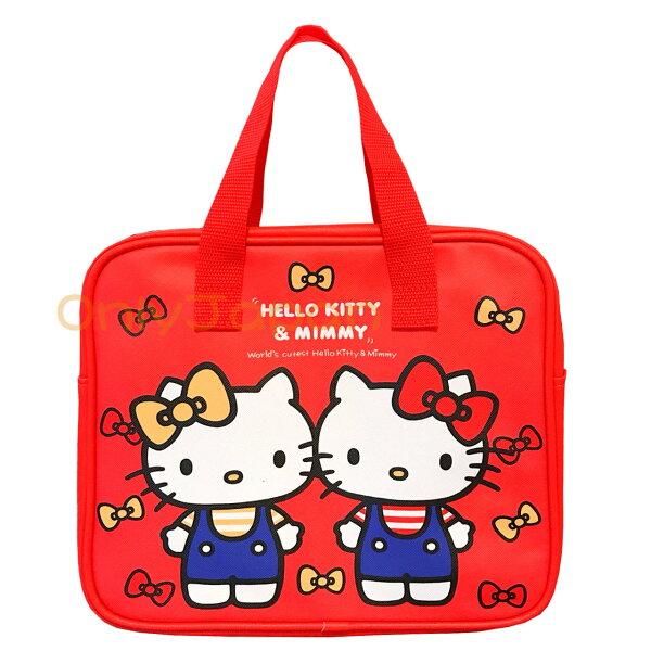 【真愛日本】18081600064方形PU拉鍊提袋-雙胞胎紅凱蒂貓kitty朋友手提袋手提包方型提袋