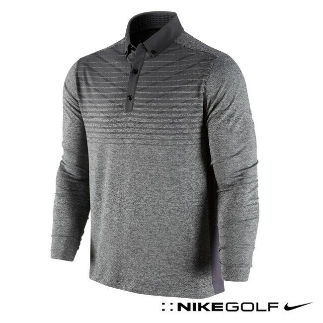 【Nike Golf】 快速排汗條紋長袖 POLO 衫-紳士灰