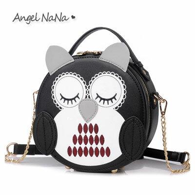 AngelNaNa:斜背包-萌萌彩繪立體貓頭鷹手提包鍊條圓筒包AngelNaNa【BA0280】