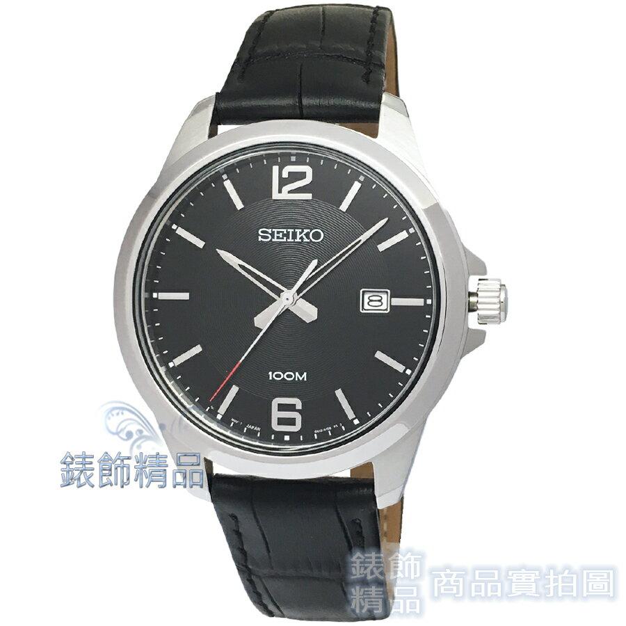 【錶飾精品】SEIKO手錶 SUR251P1 精工表 經典時尚 黑面黑色壓紋真皮男錶 全新原廠正品
