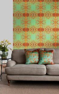 綠色對稱圖案抽象畫英國壁紙SUSIBELLAMYgeloverdino一套6卷