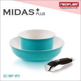 免運費 韓國NEOFLAM Midas Plus系列 陶瓷不沾鍋具組3件式(電磁)-翡翠綠 EC-MP-3PS - 限時優惠好康折扣
