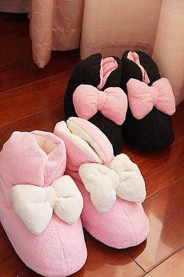 =優 =超大蝴蝶結 棉花般的超軟觸感 短靴家居鞋 室內鞋 保暖鞋