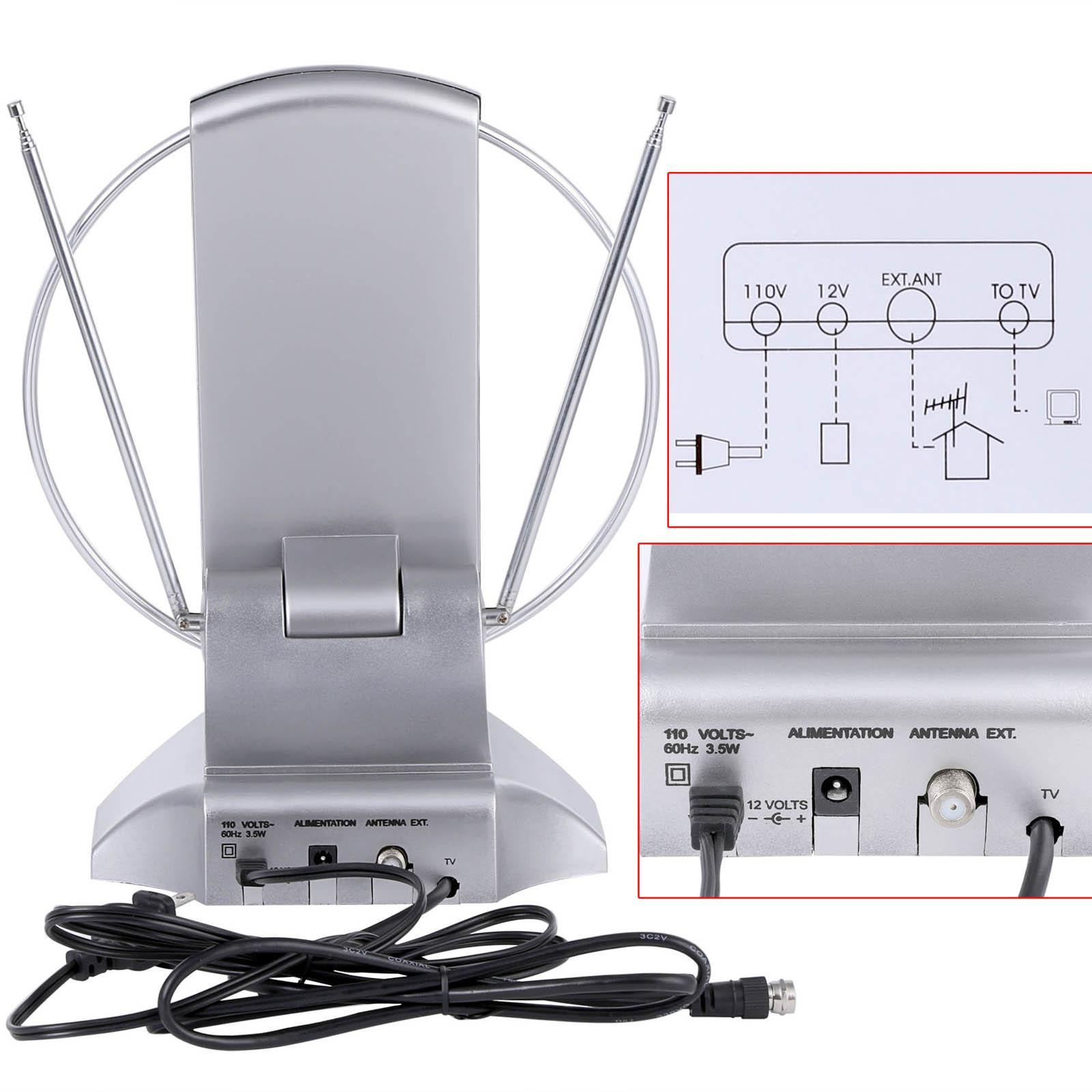 Digital High Definition Antenna UHF VHF FM With Rotating Silver 2