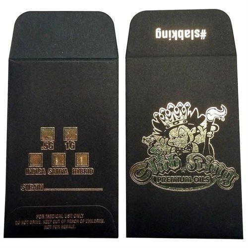 100 Original Black Gold SLAB KING Wax Shatter Labels Coin Foil Envelopes #029 0