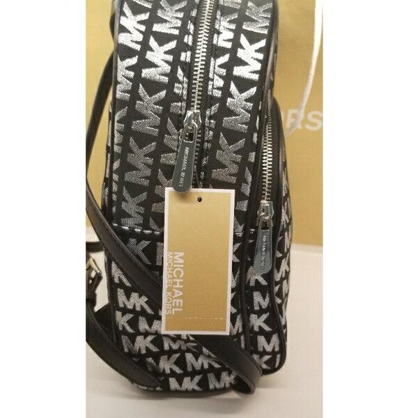 美國Michael Kors黑色 / 銀色MK LOGO刺繡布面設計 後背包 限量款 6