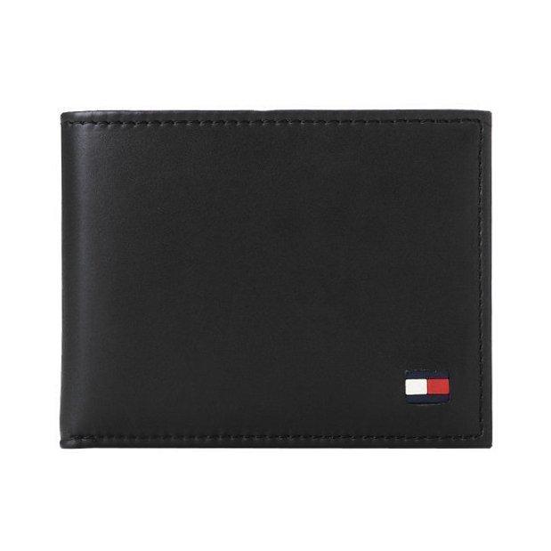 美國百分百【全新真品】Tommy Hilfiger 真皮 皮夾 皮包 卡片 TH 短夾 錢包 卡夾 票夾 黑色 H717