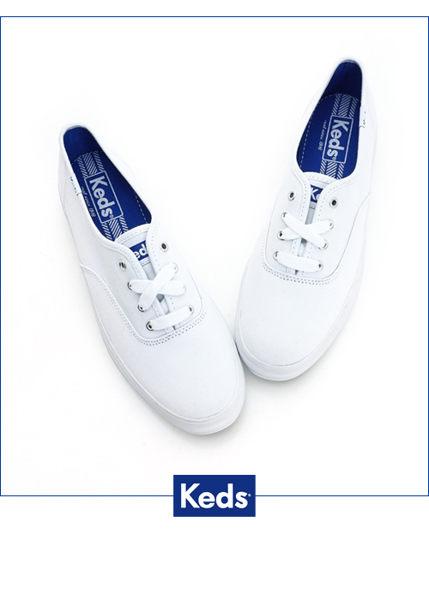 KEDS 171W130026 經典厚底帆布鞋 白鞋綁帶懶人鞋厚底休閒鞋 1