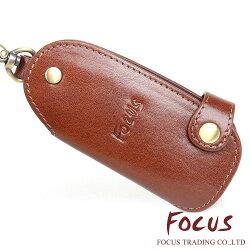 FOCUS 原皮 文創手作系列 義大利植物染鞣革牛皮 扣式 鎖匙包 鑰匙圈 咖啡色 鑰匙包 FTA0283