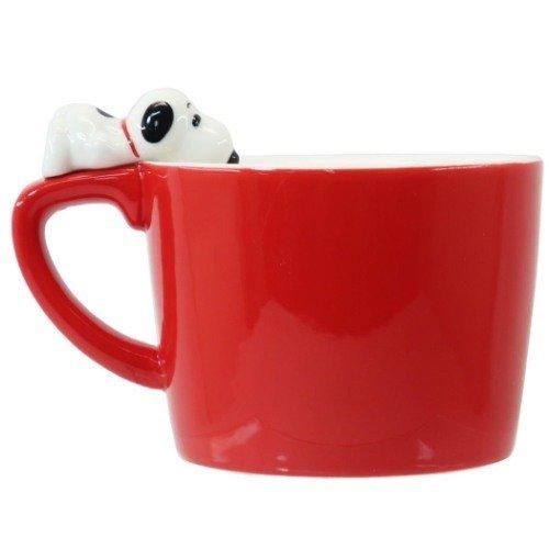 陶瓷馬克杯 趴杯緣子紅 史努比 snoopy 馬克杯 水杯 杯子 杯 單耳杯 果汁杯 咖啡杯 真愛日本