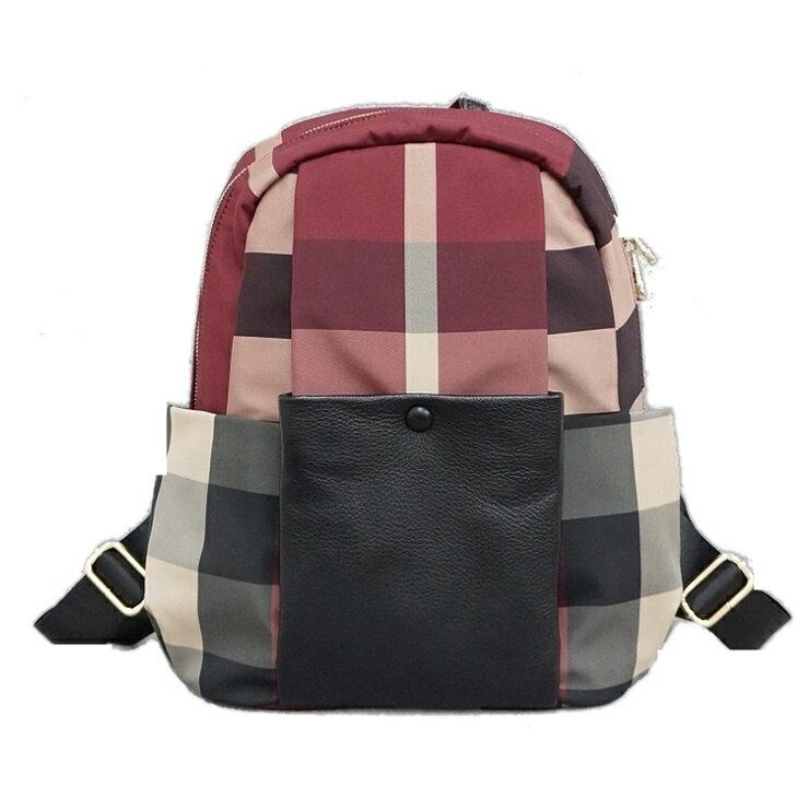 (M)BURBERRY紋防水布牛皮後背包 休閒包-紅色