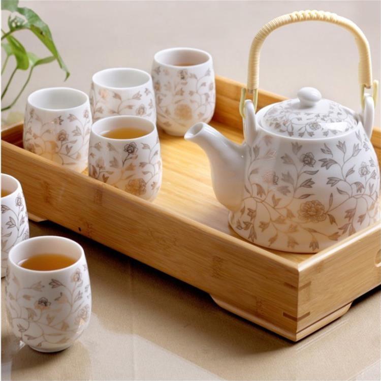 茶具 送竹托 景德鎮陶瓷茶具套裝家用整套功夫現代簡約茶壺茶杯子6只裝