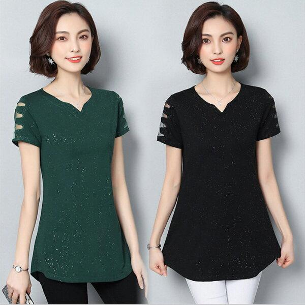 糖衣子輕鬆購【GH2029】韓版時尚百搭V領鏤空網紗修身顯瘦長版上衣