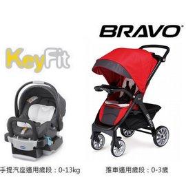 【紫貝殼】Chicco Bravo 手推車 絕美紅+Key-Fit手持汽座提藍【紫貝殼】