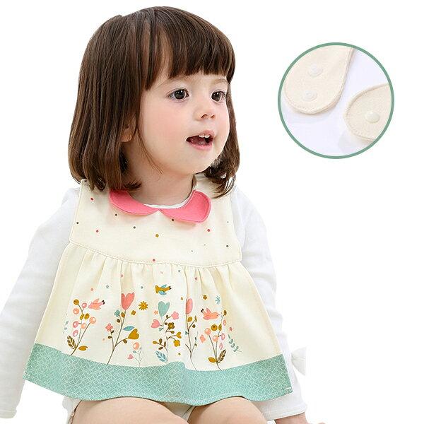 兒童圍兜 純棉圍兜 防水圍兜 圍兜裙 設計款仿短版洋裝圍兜裙 嬰兒圍兜-JoyBaby