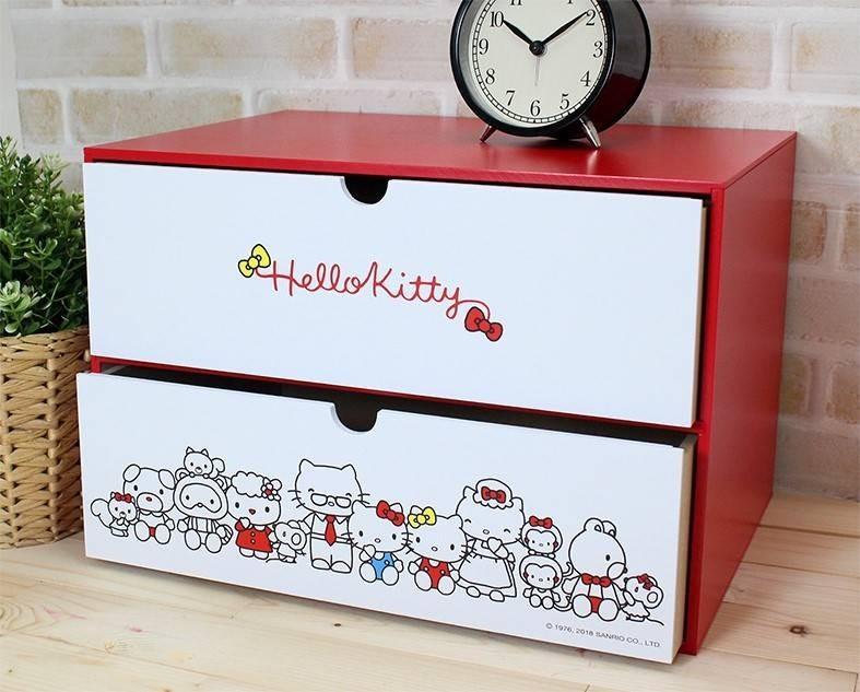 HelloKitty 動心收納兩抽盒,置物櫃/收納櫃/收納盒/抽屜收納盒/木製櫃/木製收納櫃/收納箱/桌上收納盒,X射線【C181088】