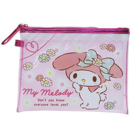 【真愛日本】17041700008 透明化妝包-MM小花粉 三麗鷗家族 Melody 美樂蒂 收納 化妝包