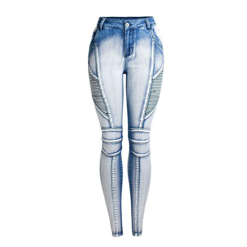 牛仔褲丹寧小腳褲-水洗磨白線條鉛筆褲女長褲73wx8【獨家進口】【米蘭精品】 0