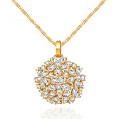 ~925純銀項鍊 鍍白金鑲鑽吊墜~ 閃耀奢華情人母親節 女飾品2色73ct57~ ~~米蘭