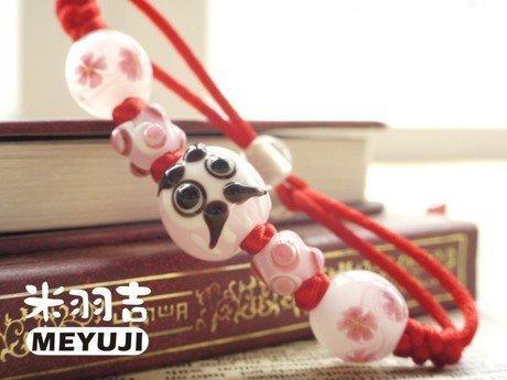 手工日式琉璃粉色戀愛達摩桃花開運手鏈情侶手鏈