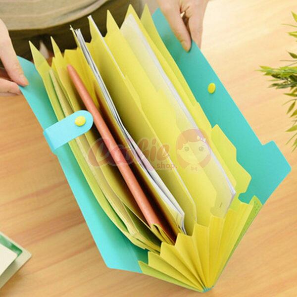 韓國文具 糖果色8層便利收納文件夾/檔案夾【庫奇小舖】