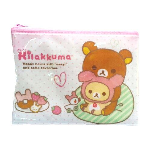 【真愛日本】15091900015拉鍊化妝包-懶熊奶熊變裝兔  SAN-X 懶熊 奶妹 奶熊 拉拉熊  化妝包  萬用包  收納包