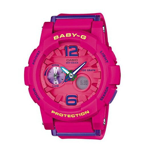 CASIO BABY-G BGA-180-4B3衝浪滑板雙顯流行腕錶/粉紅面44mm