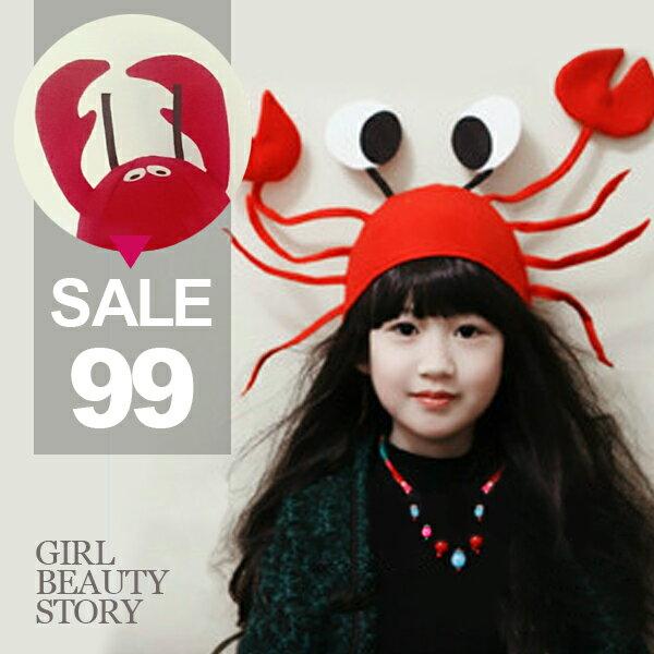 SiSi Girl:SISI【A7007】趣味搞笑派對道具紅色小龍蝦、螃蟹帽子聖誕節萬聖節裝飾帽兒童派對禮物