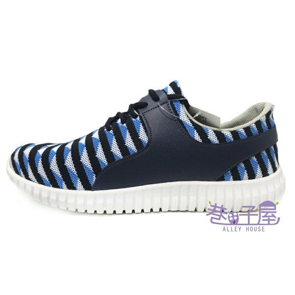 【巷子屋】JimmyPoLo男款幾何編織運動慢跑鞋[02101]藍MIT台灣製造超值價$398
