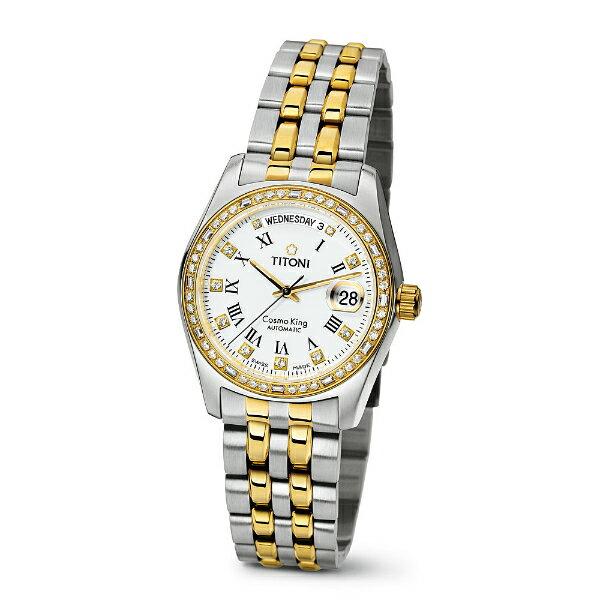 TITONI瑞士梅花錶787SY-DB-019宇宙Cosmo King系列雙色機械腕錶/白面38.5mm