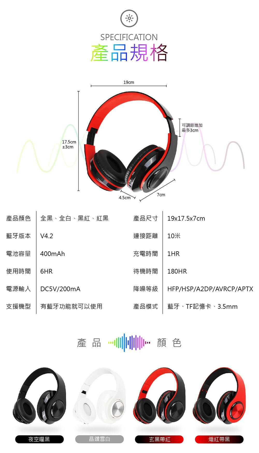 【耳罩式升級版!Wireless炫彩藍牙耳機】可插卡 耳罩式藍牙耳機 可折疊 無線藍芽耳機 藍芽耳機 藍牙 藍芽【DC065】 8