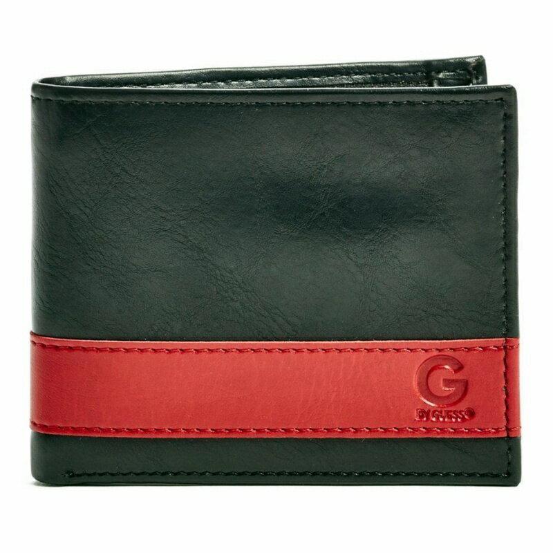 【現貨免等】Guess 紅條紋黑色皮夾 短夾 錢包 31GU130012【CBGS0107】