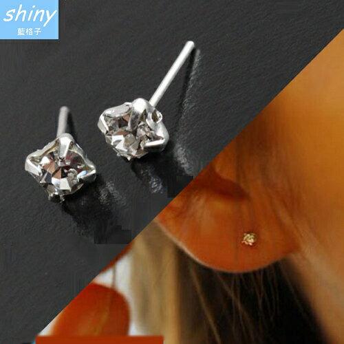 shiny藍格子:【30A69】shiny藍格子-氣質搭品.簡約個性可愛鑲鑽耳環