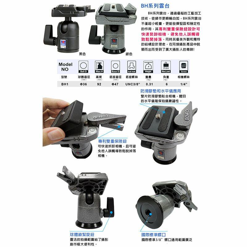 ~相機 ~ BENRO 百諾 BH1 BH系列球型雲台 BH~1 勝興 貨
