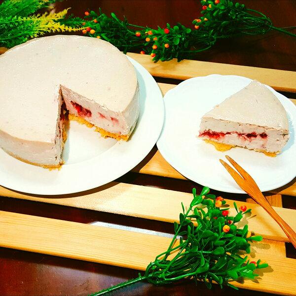 【免運-草莓重乳酪蛋糕6吋】手工草莓果醬、杏仁餅乾底