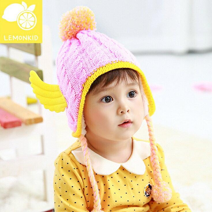 Lemonkid◆ 超萌天使翅膀 拼色立體毛球兒童毛線護耳帽~粉色