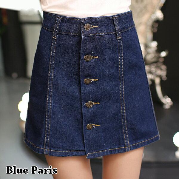 牛仔裙 ~ 高腰牛仔五釦短裙~23297~藍色巴黎 ~M^~XL~