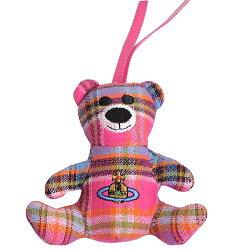 Vivienne Westwood 立體行星圖騰刺繡蘇格蘭紋可愛熊掛飾(桃紅格)