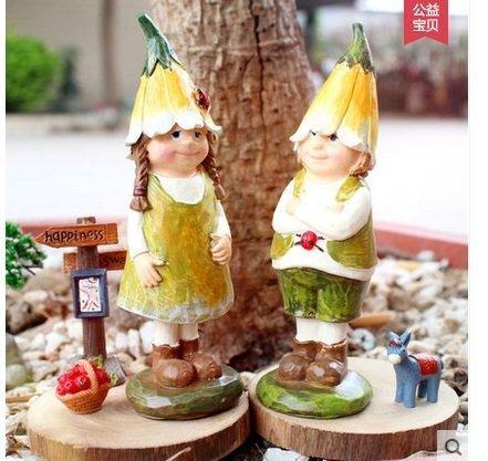 創意工藝禮品結婚禮物家居裝飾田園樹脂精靈擺件生日禮品一對(圖一)
