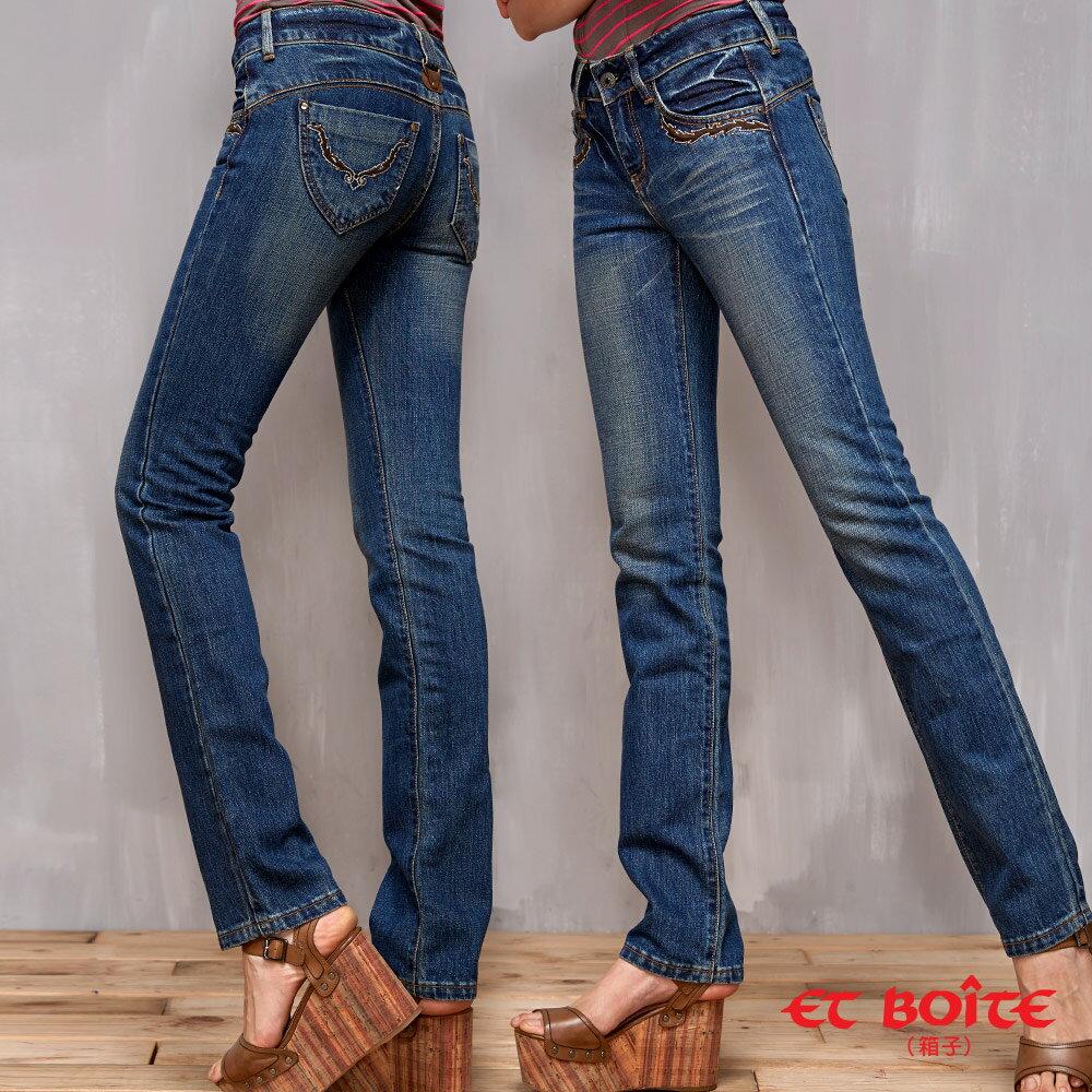 【經典丹寧限時↘990】LeJean繡花鉚釘顯瘦直筒牛仔褲 BLUE WAY  ET BOiTE 箱子 0