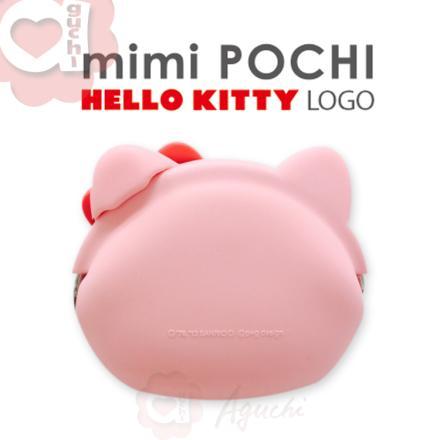 ☆Hello Kitty☆mimi Pochi 立體造型矽膠圓形-LOGO 零錢包/多功能包☆桃粉紅 2