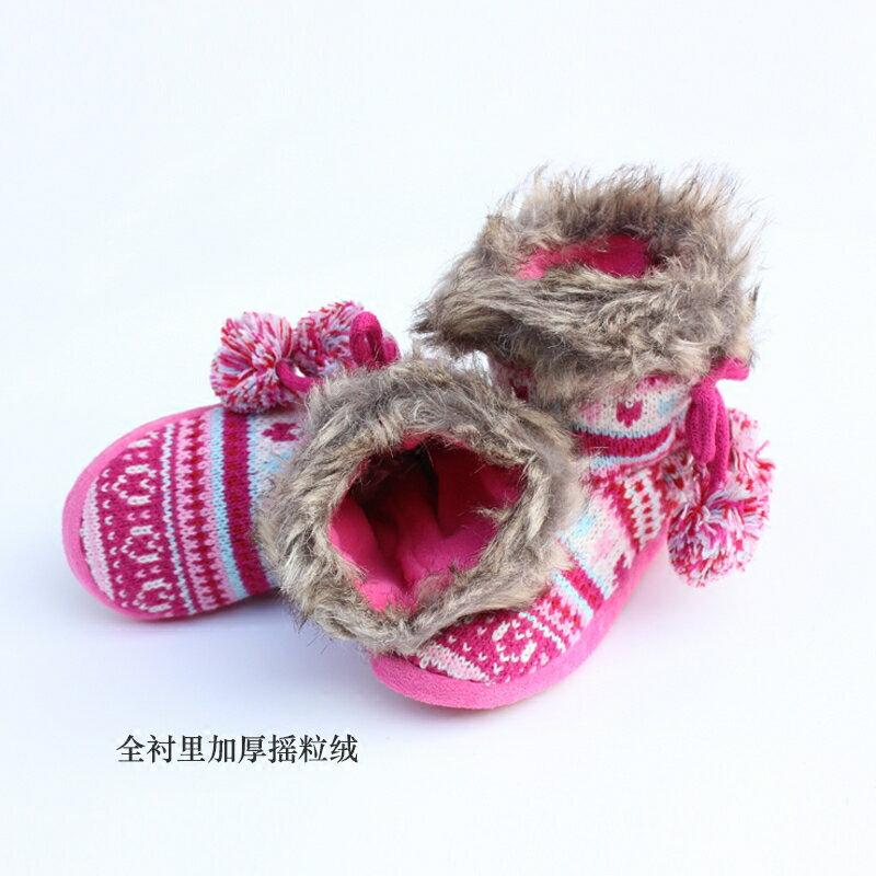 單秋冬季女孩兒童室內保暖鞋子女童寶寶針織毛線靴子加絨雙層1入