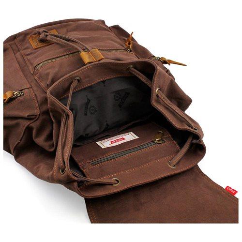 Men's Outdoor Sport Vintage Canvas Military BackBag Shoulder Travel Hiking Camping School Bag Backpack - Coffee 3